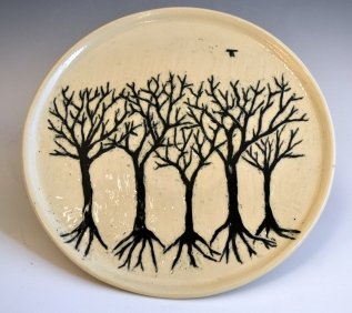 Black Trees Sgraffito Plate