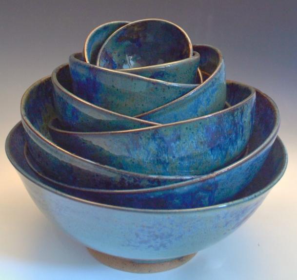 Pile of 10 Blue Ash Bowls