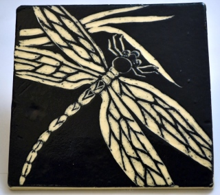 Dragonfly Sgraffito Tile