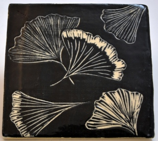 Gingko Sgraffito Tile