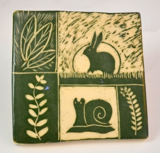 Green Sgraffito Tile