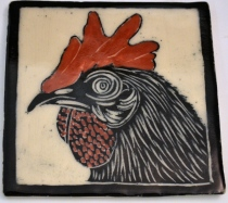 Rooster Sgraffito Tile