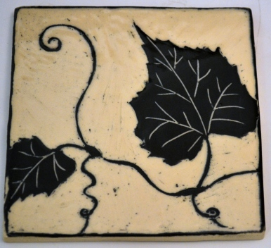 Grape Leaf Sgraffito Tile