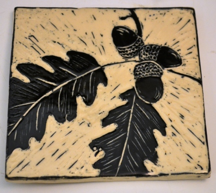 Oak Leaf Sgraffito Tile